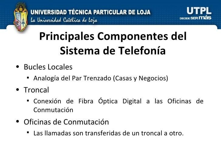 Principales Componentes del Sistema de Telefonía <ul><li>Bucles Locales </li></ul><ul><ul><li>Analogía del Par Trenzado (C...
