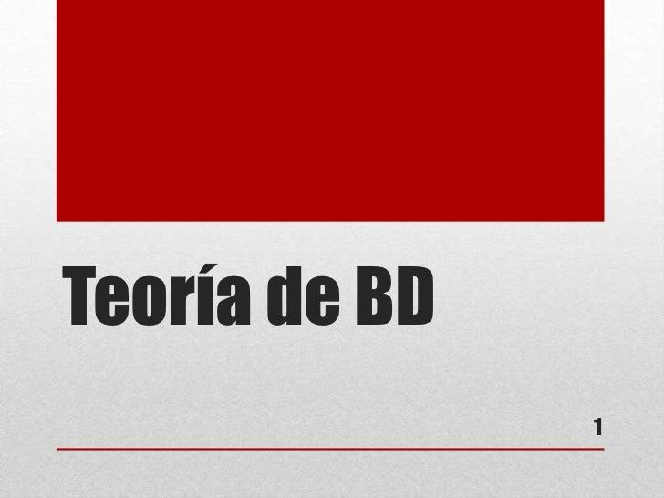 Teoría de BD               1