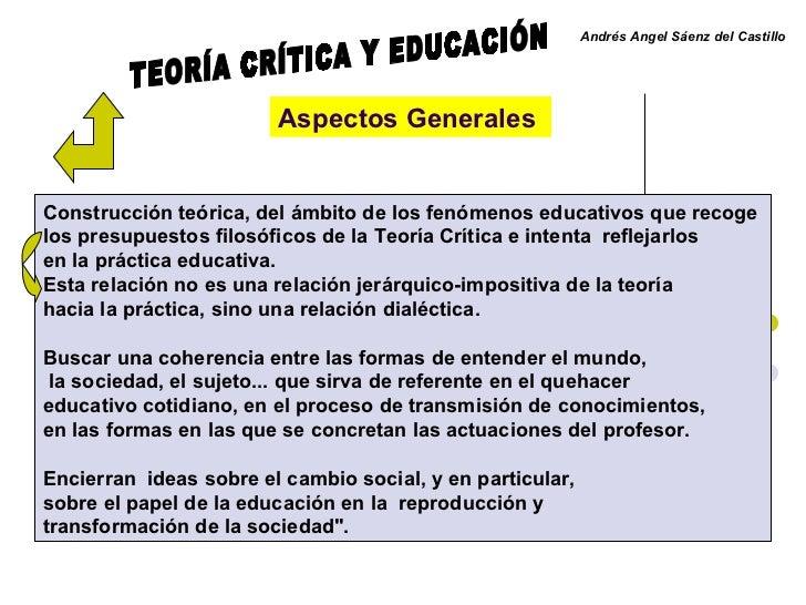 Andrés Angel Sáenz del Castillo   Aspectos Generales   Construcción teórica, del ámbito de los fenómenos educativos que re...