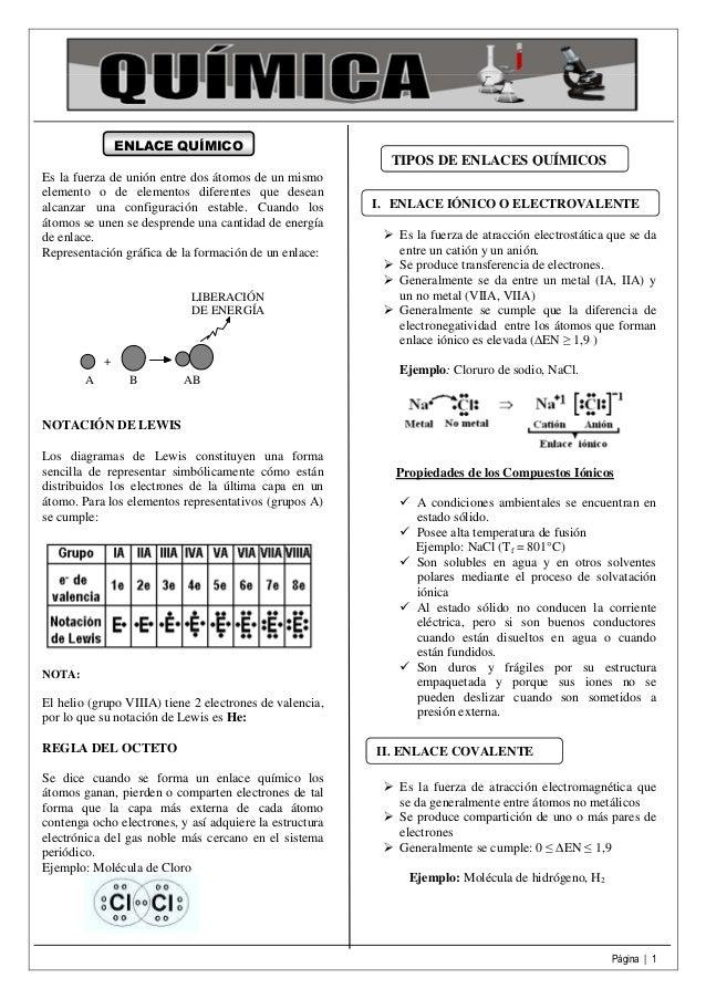 Página | 1 ENLACE QUÍMICO Es la fuerza de unión entre dos átomos de un mismo elemento o de elementos diferentes que desean...