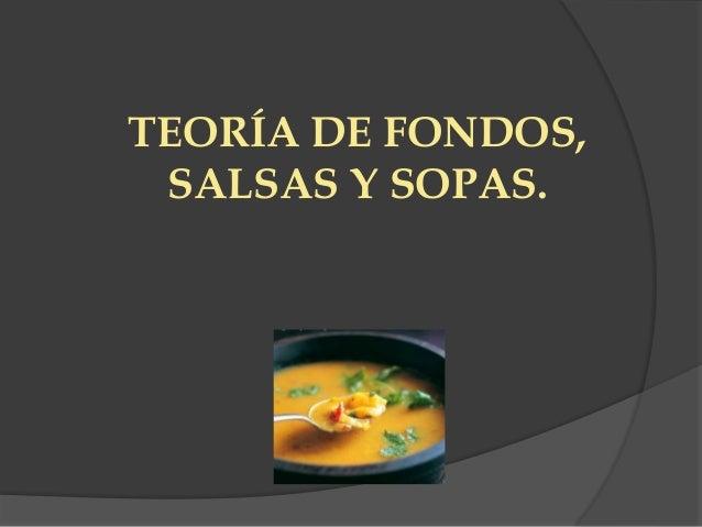TEORÍA DE FONDOS, SALSAS Y SOPAS.