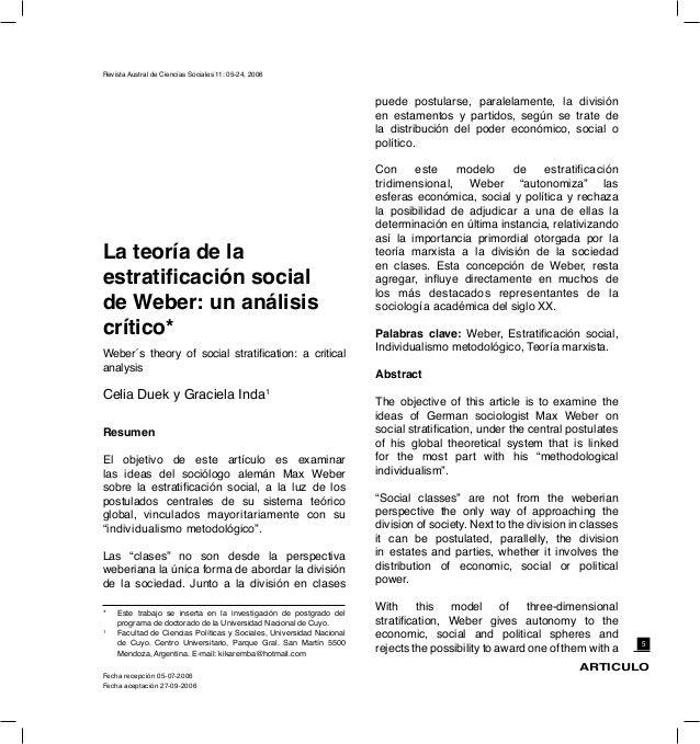 Teoría De La Estratificación Social De Weber