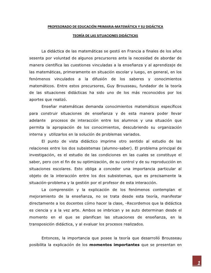 PROFESORADO DE EDUCACIÓN PRIMARIA-MATEMÁTICA Y SU DIDÁCTICA                       TEORÍA DE LAS SITUACIONES DIDÁCTICAS    ...