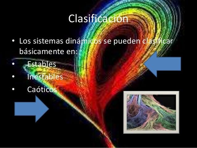 Clasificación• Los sistemas dinámicos se pueden clasificar  básicamente en:• Estables• Inestables• Caóticos
