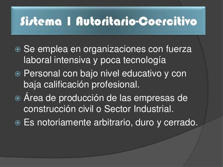 Comparación                           Sistema 1 de Variables                  Autoritario - Coercitivo                  Ce...