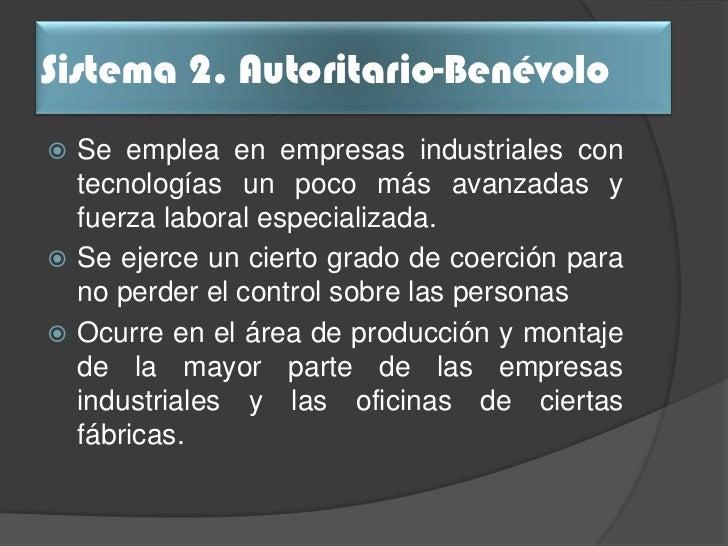 Comparación                      Sistema 2 de Variables               Autoritario - Benévolo                  Centralizado...