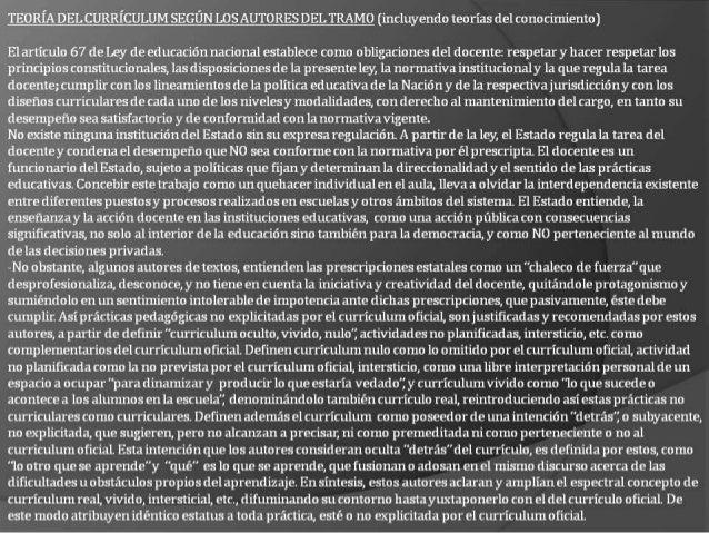 TEORÍA DEL CURRÍCULUM SEGÚN LOS AUTORES DEL TRAMO (incluyendo teorías del co no cimiento)  El artículo 67 de Ley de educac...