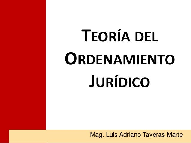 TEORÍA DEL ORDENAMIENTO JURÍDICO Mag. Luis Adriano Taveras Marte