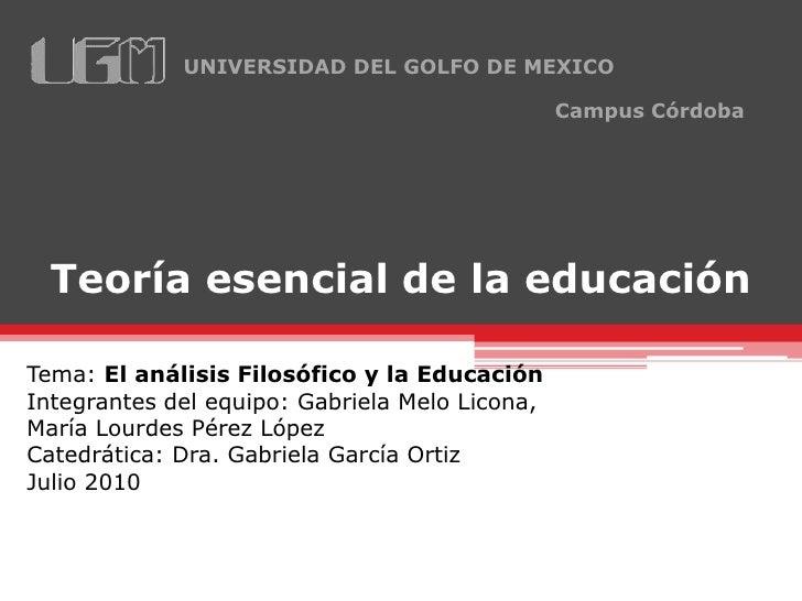 UNIVERSIDAD DEL GOLFO DE MEXICO                                                  Campus Córdoba       Teoría esencial de l...