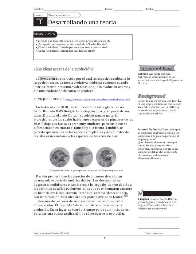 Teoría evolución de darwin: Guía, tercero medio, plan común