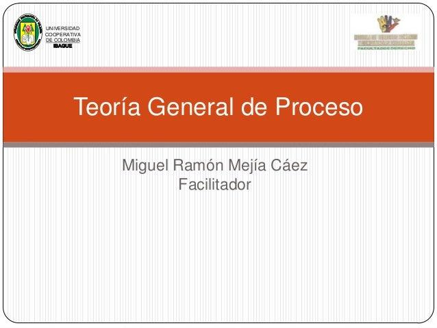 UNIVERSIDAD COOPERATIVA DE COLOMBIA IBAGUE  Teoría General de Proceso Miguel Ramón Mejía Cáez Facilitador