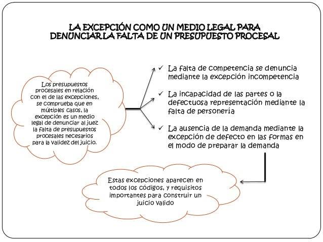 LA EXCEPCIÓN COMO UN MEDIO LEGAL PARA DENUNCIAR LA FALTA DE UN PRESUPUESTO PROCESAL  Los presupuestos procesales en relaci...
