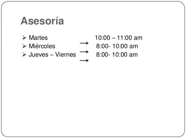 Asesoría  Martes  Miércoles  Jueves – Viernes  10:00 – 11:00 am 8:00- 10:00 am 8:00- 10:00 am