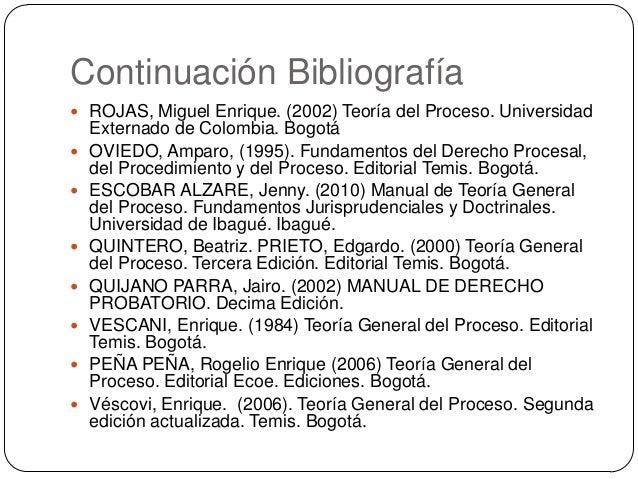 Continuación Bibliografía  ROJAS, Miguel Enrique. (2002) Teoría del Proceso. Universidad          Externado de Col...