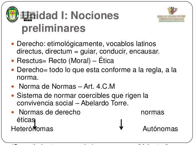 Unidad I: Nociones preliminares  UNIVERSIDAD COOPERATIVA DE COLOMBIA IBAGUE   Derecho: etimológicamente, vocablos latinos...