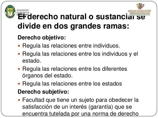 UNIVERSIDAD COOPERATIVA DE COLOMBIA IBAGUE  El derecho natural o sustancial se divide en dos grandes ramas: Derecho objeti...