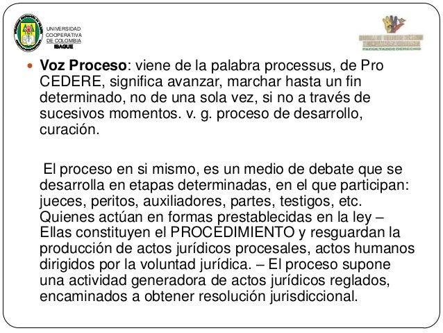 UNIVERSIDAD COOPERATIVA DE COLOMBIA IBAGUE   Voz Proceso: viene de la palabra processus, de Pro  CEDERE, significa avanza...