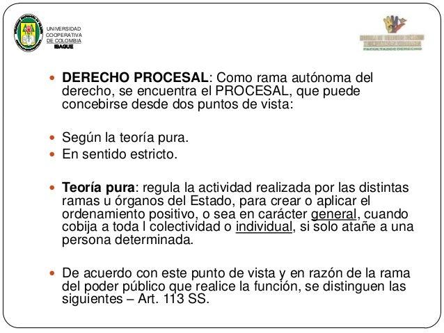 UNIVERSIDAD COOPERATIVA DE COLOMBIA IBAGUE   DERECHO PROCESAL: Como rama autónoma del  derecho, se encuentra el PROCESAL,...