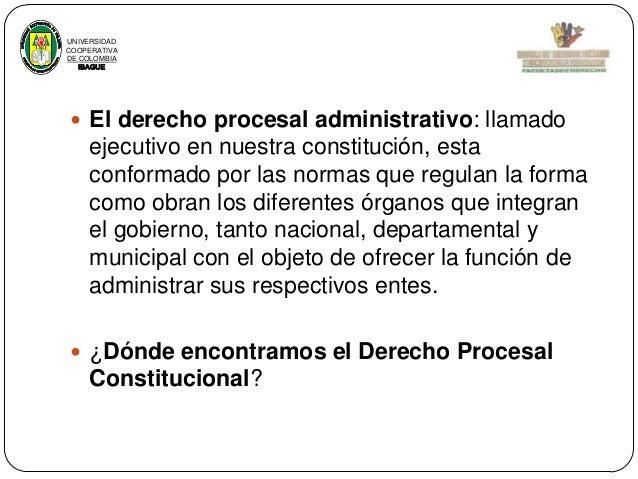 UNIVERSIDAD COOPERATIVA DE COLOMBIA IBAGUE   El derecho procesal administrativo: llamado  ejecutivo en nuestra constituci...