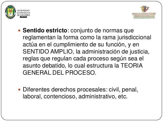 UNIVERSIDAD COOPERATIVA DE COLOMBIA IBAGUE   Sentido estricto: conjunto de normas que  reglamentan la forma como la rama ...