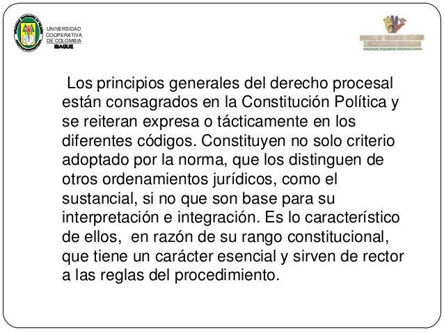 UNIVERSIDAD COOPERATIVA DE COLOMBIA IBAGUE  Los principios generales del derecho procesal están consagrados en la Constitu...