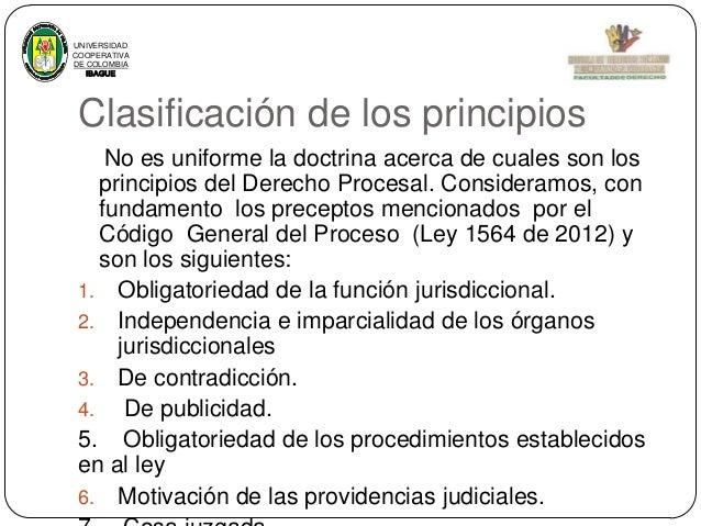 UNIVERSIDAD COOPERATIVA DE COLOMBIA IBAGUE  Clasificación de los principios No es uniforme la doctrina acerca de cuales so...