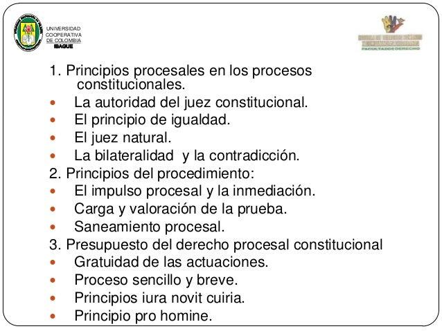 UNIVERSIDAD COOPERATIVA DE COLOMBIA IBAGUE  1. Principios procesales en los procesos constitucionales.  La autoridad del ...