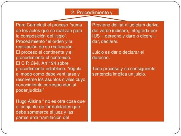 """2. Procedimiento y juicio Para Carnelutti el proceso """"suma de los actos que se realizan para la composición del litigio"""". ..."""