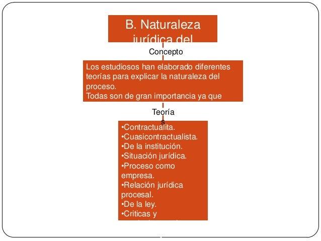 B. Naturaleza jurídica del Concepto proceso Los estudiosos han elaborado diferentes teorías para explicar la naturaleza de...