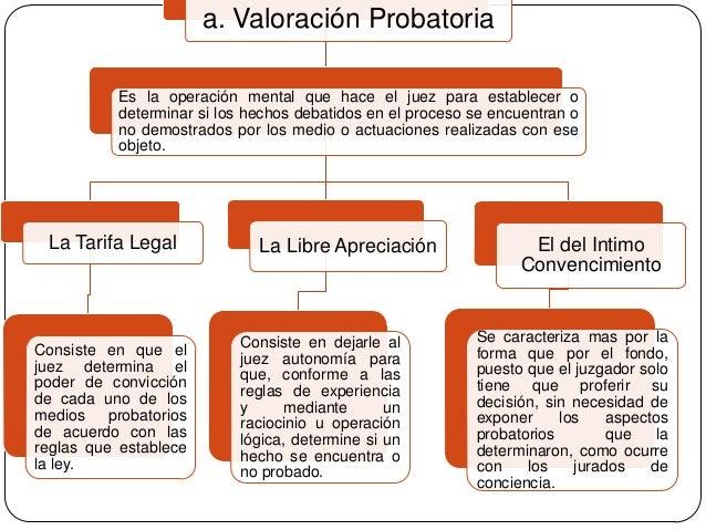 a. Valoración Probatoria Es la operación mental que hace el juez para establecer o determinar si los hechos debatidos en e...