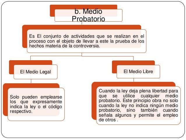 b. Medio Probatorio Es El conjunto de actividades que se realizan en el proceso con el objeto de llevar a este la prueba d...
