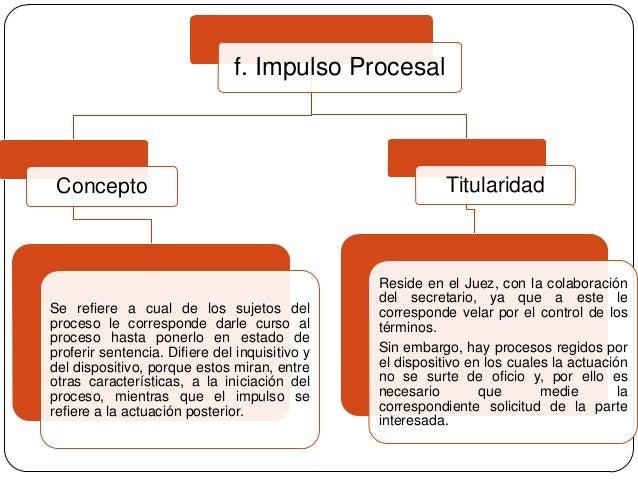 f. Impulso Procesal  Concepto  Se refiere a cual de los sujetos del proceso le corresponde darle curso al proceso hasta po...