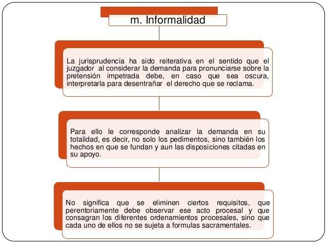 m. Informalidad  La jurisprudencia ha sido reiterativa en el sentido que el juzgador al considerar la demanda para pronunc...