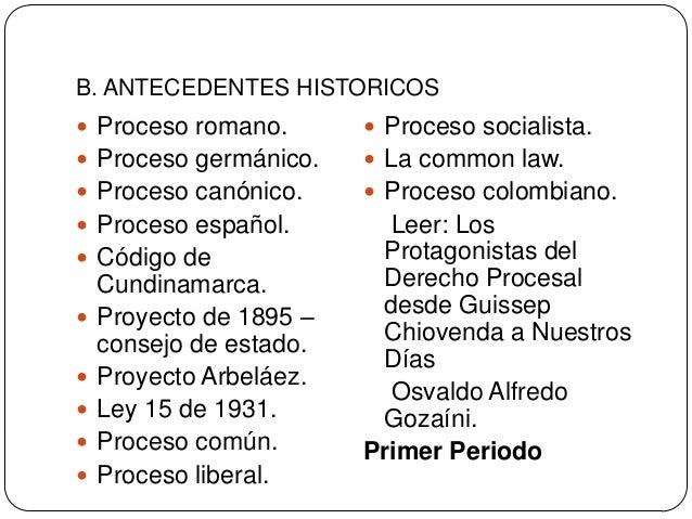 B. ANTECEDENTES HISTORICOS  Proceso romano.   Proceso socialista.   Proceso germánico.   La common law.   Proceso can...