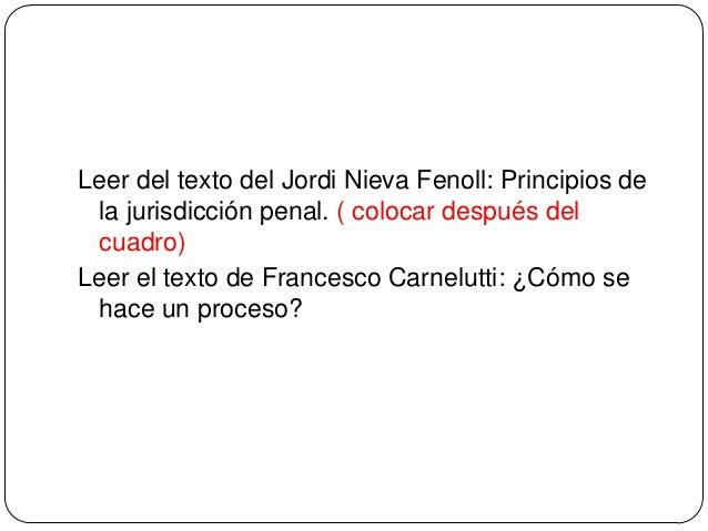 Leer del texto del Jordi Nieva Fenoll: Principios de la jurisdicción penal. ( colocar después del cuadro) Leer el texto de...