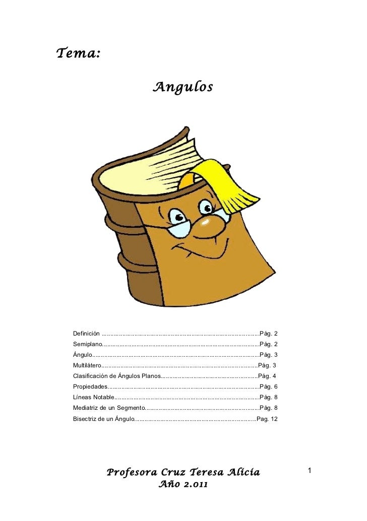 Tema:                                           Angulos Definición ..........................................................