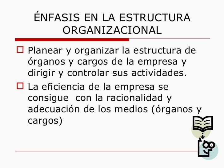 ÉNFASIS EN LA ESTRUCTURA ORGANIZACIONAL <ul><li>Planear y organizar la estructura de órganos y cargos de la empresa y diri...