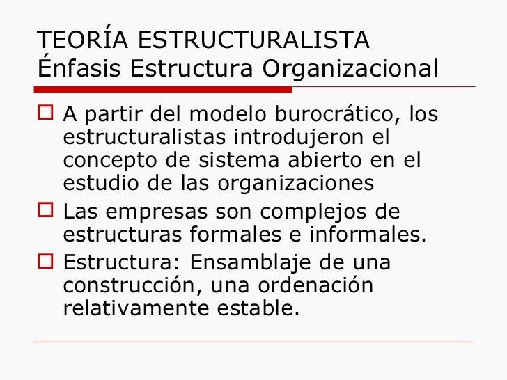 TEORÍA ESTRUCTURALISTA Énfasis Estructura Organizacional <ul><li>A partir del modelo burocrático, los estructuralistas int...