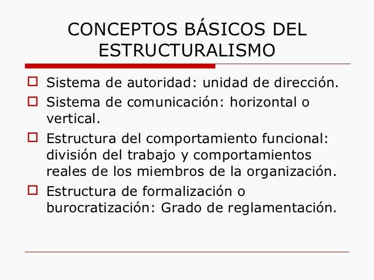 CONCEPTOS BÁSICOS DEL ESTRUCTURALISMO <ul><li>Sistema de autoridad: unidad de dirección. </li></ul><ul><li>Sistema de comu...