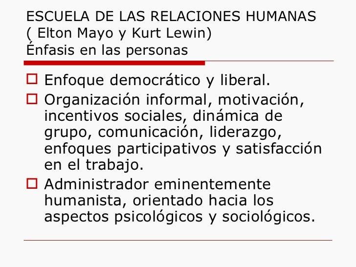 ESCUELA DE LAS RELACIONES HUMANAS  ( Elton Mayo y Kurt Lewin) Énfasis en las personas <ul><li>Enfoque democrático y libera...