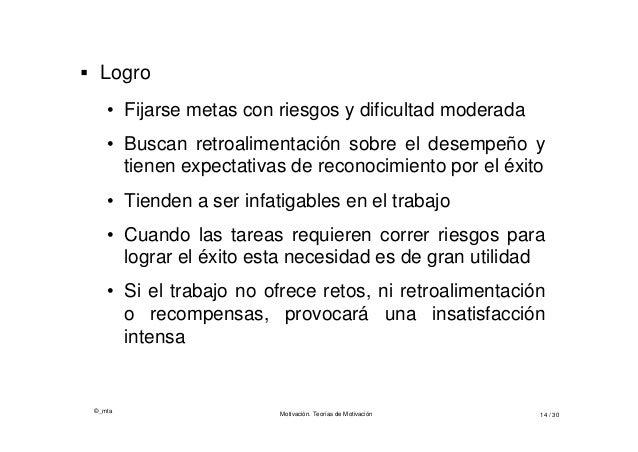 ©_mta Motivación. Teorías de Motivación 14 / 30  Logro • Fijarse metas con riesgos y dificultad moderada • Buscan retroal...