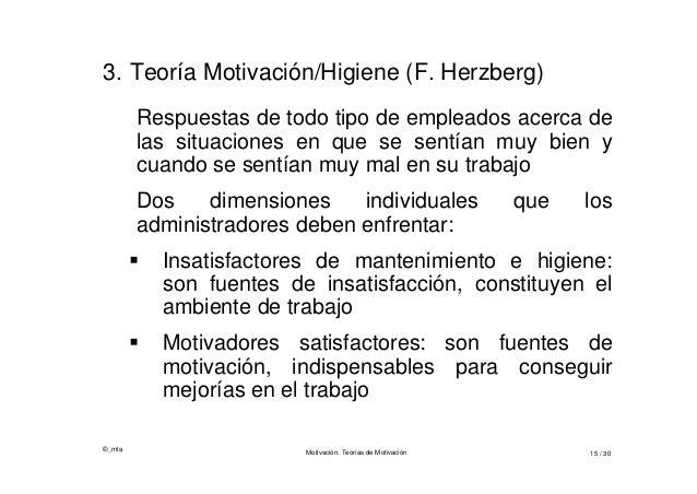 ©_mta Motivación. Teorías de Motivación 15 / 30 3. Teoría Motivación/Higiene (F. Herzberg) Respuestas de todo tipo de empl...
