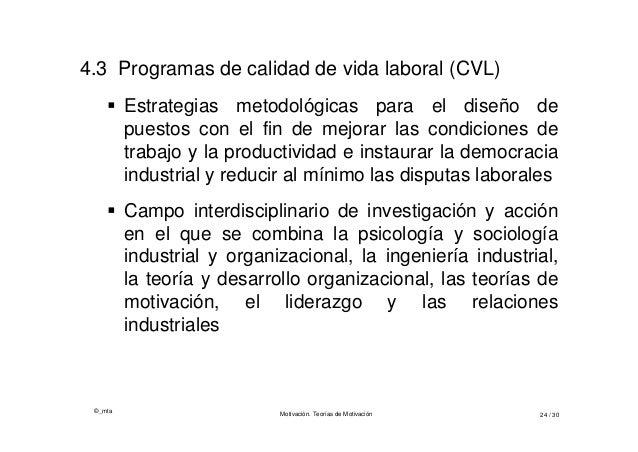 ©_mta Motivación. Teorías de Motivación 24 / 30 4.3 Programas de calidad de vida laboral (CVL)  Estrategias metodológicas...