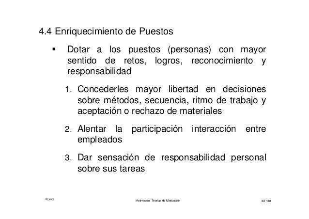 ©_mta Motivación. Teorías de Motivación 26 / 30 4.4 Enriquecimiento de Puestos  Dotar a los puestos (personas) con mayor ...