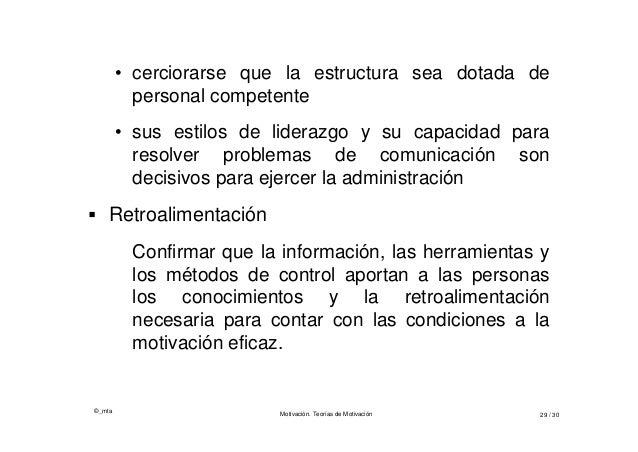©_mta Motivación. Teorías de Motivación 29 / 30 • cerciorarse que la estructura sea dotada de personal competente • sus es...