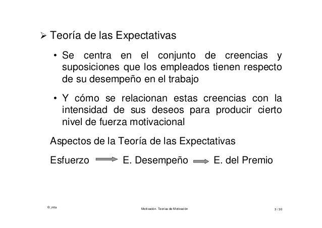 ©_mta Motivación. Teorías de Motivación 3 / 30  Teoría de las Expectativas • Se centra en el conjunto de creencias y supo...