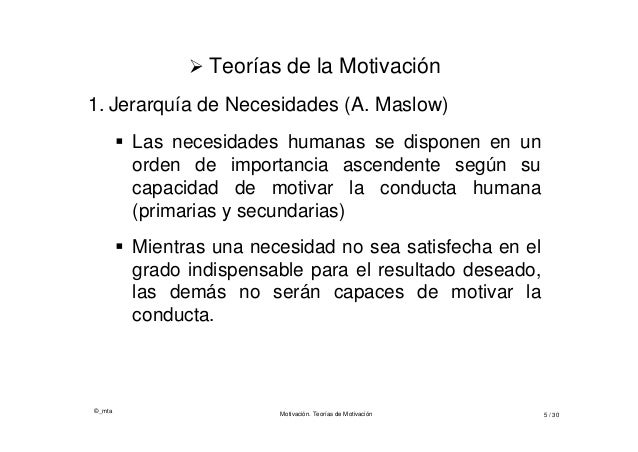 ©_mta Motivación. Teorías de Motivación 5 / 30  Teorías de la Motivación 1. Jerarquía de Necesidades (A. Maslow)  Las ne...