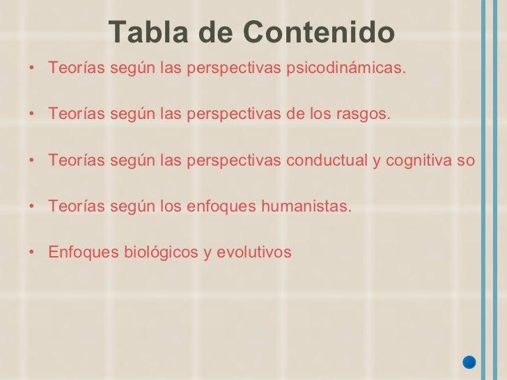Tabla de Contenido <ul><li>Teorías según las perspectivas psicodinámicas. </li></ul><ul><li>Teorías según las perspectivas...