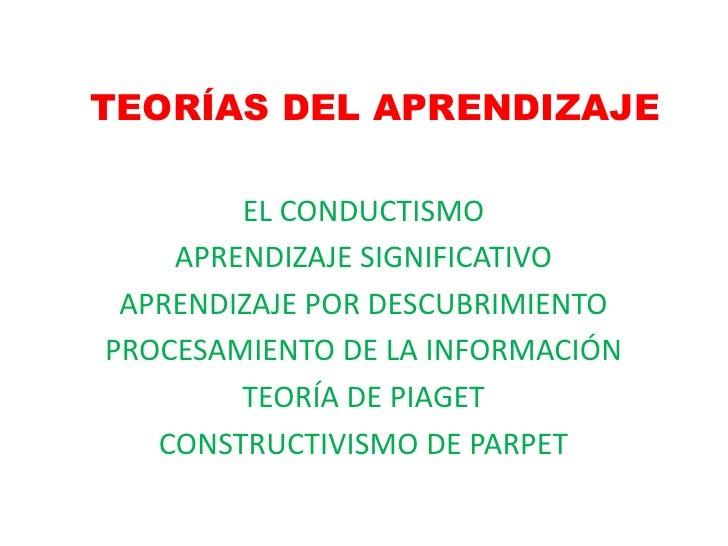 TEORÍAS DEL APRENDIZAJE        EL CONDUCTISMO    APRENDIZAJE SIGNIFICATIVO APRENDIZAJE POR DESCUBRIMIENTOPROCESAMIENTO DE ...