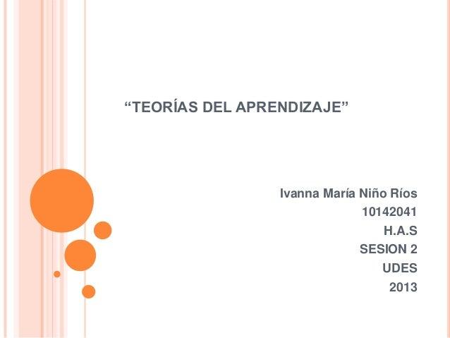 """""""TEORÍAS DEL APRENDIZAJE""""                 Ivanna María Niño Ríos                              10142041                    ..."""